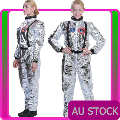Ladies Spaceman Costume Silver Astronaut Space Outfit Nasa Womens Jumpsuit