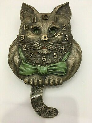 30s LUX Novelty Animated CAT Wall Clock-Pendulette Decoration or Parts