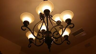 Large Iron Chandelier/Light Fitting with 9 Etched Glass Shades
