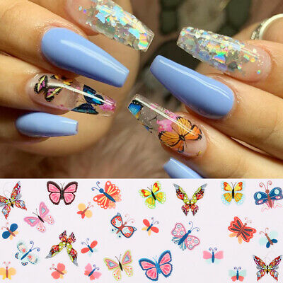 10Pcs/set Butterfly Colorful Nail Foils Flower Nail Art Transfer Stickers Decor