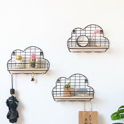Wall Mounted Shelf Wooden Rack Storage Unit With Hooks Basket Key Hanging Hanger