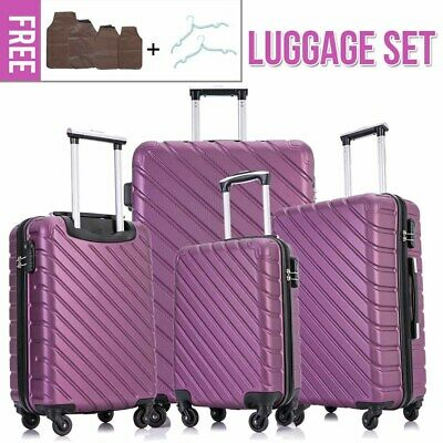 4 Pieces Luggage Set Hardside Spinner Suitcase ABS Light Travel Case (Purple)