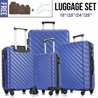 4 Pieces Luggage Set Hardside Spinner Suitcase ABS Light Travel Case (Blue)