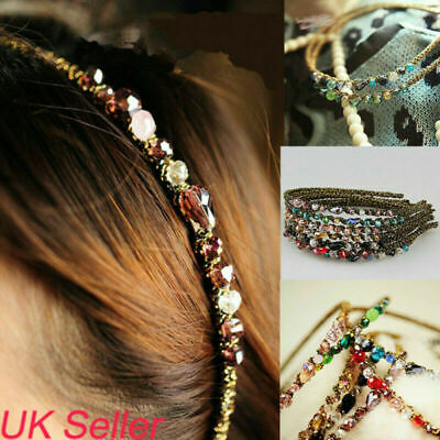 UK Womens Girls Jewel Gems Headband Crystal Hair Band Ladies Shiny Headwear Gift
