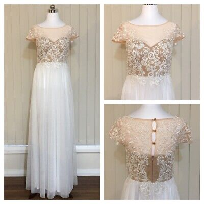 Miss Anne Wedding Dress Bridal Gown Sz 10 White Vintage Style Lace Tulle Modest