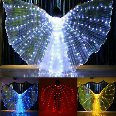 UK LED Isis Wings Belly Dance Cosplay Glow Show Light Up Costume Include Sticks