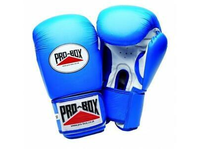 Pro Box Boxing Gloves Super Spar Leather Sparring Training - Blue