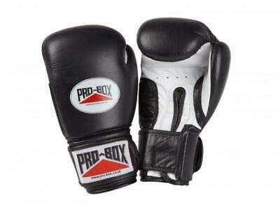 Pro Box Boxing Gloves Super Spar Leather Sparring Training - Black