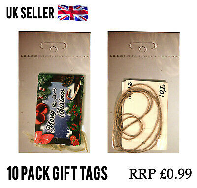 100 Packs CHRISTMAS GIFT TAGS PAPER CARD LABEL + STRING JOBLOT WHOLESALE RESELL
