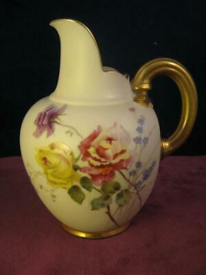 Antique Royal Worcester  Ivory Hand Painted Roses Flat Back Jug 1894 puce 1094