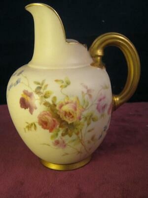 Antique Royal Worcester  Ivory Hand Painted Roses Flat Back Jug 1892  puce 1094