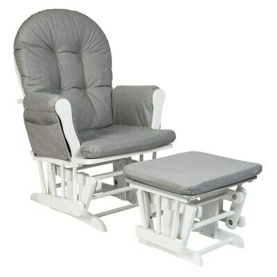 Nursery Gliding Rocking Chair And Footstool Footrest White & Grey With Organiser