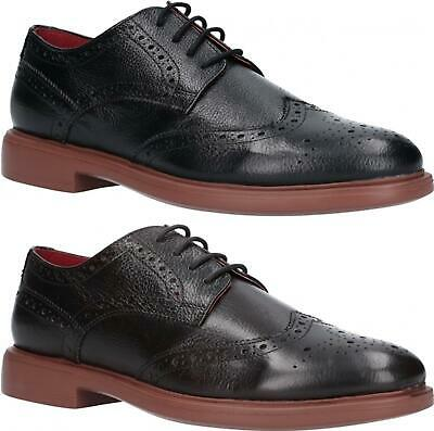 Lambretta SPENCER Mens Genuine Leather Lace Up Brogue Derby Shoes Black & Brown