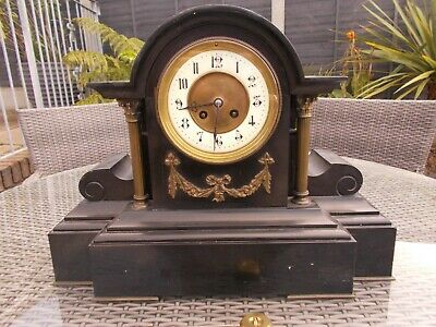 superb large marble  antique  columned scroll    a.d mougin  mantel clock chime