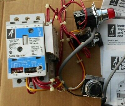 Eaton Cutler Hammer W200MLCFC 3ph Size 1 120v motor starter with accessories,NTO