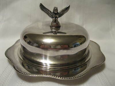 Vintage Viking Silverplated Butter Dish with Glass Liner Totem Pole