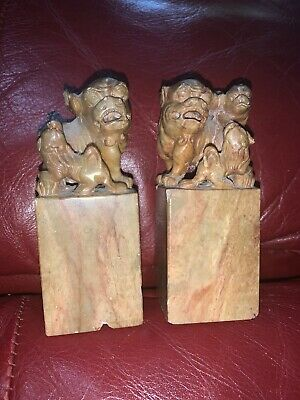 """Foo Dog Stone Sculptures Pair Hand Carved Unmarked 4"""""""