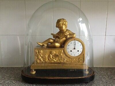1810 Blanc Fils Palais Royal French Empire Gilt & Patinated Bronze Mantel Clock