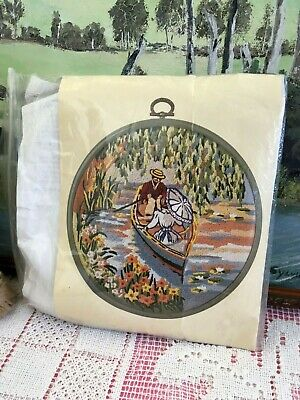 Stamped Embroidery Avon Needle Work Full Sewing Kit Craft Vintage Frame Inc