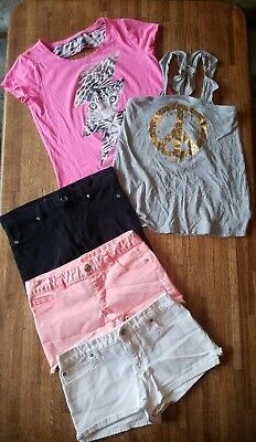 5 Pc Girl's Justice Chaps Clothes Lot Jean Shorts Tank Top Shirt Pink Gray - 14