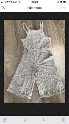 Girls Next Grey Cotton Cropped Dungarees 6 Years