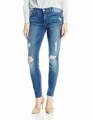 NEW ! NWT 7 FOR ALL MANKIND The Ankle Skinny in Distressed Radiant Pier Size 28