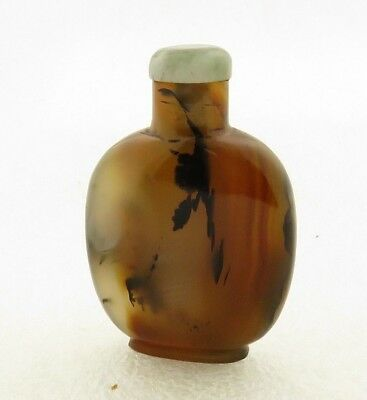 Antique 19th Century Chinese Hand Carved Brown Agate Snuff Bottle w/ Jadeite Top