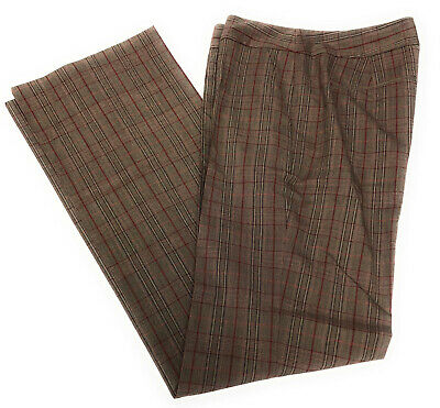 Kenneth Cole Womens Brown Maroon Plaid Casual Career Dress Pants Size 4