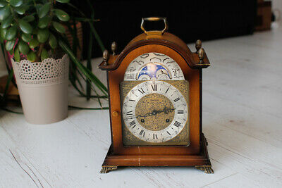 Vintage Franz Hermle Westminster Chime Moon Phase Mantel Clock - West Germany