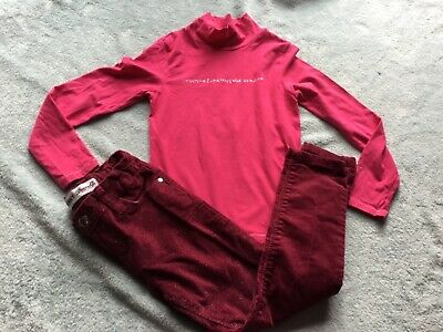 Denim & Co/Girbaud Outfit,Burgundy Sparkle Jeans/Trousers~Pink Top/Jumper