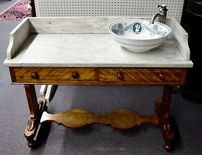Antique Marble Top Victorian Vanity Coupled with 2010 Sink Bowl, Faucet,Plumbing