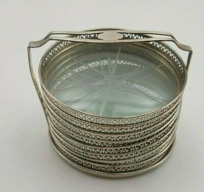 Group of 8 Sterling w/ Glass Center Coasters in Caddy  #7965