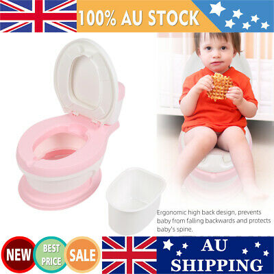 Baby Toddler Toilet Training Potty Trainer Seat Kids Simulation Toilet Chair AU