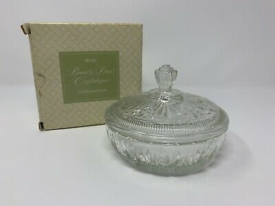 Vintage Avon Beauty Dust Crystalique Container Cut Glass Powder Dish