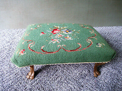 Antique Needlepoint Stool Victorian 4 Lions Head Arched Cast Iron Legs 14'' Long