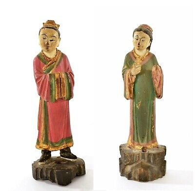 17C Chinese 2 Ming Wood Polychrome Stucco Painted Carved Scholar Figure Figurine