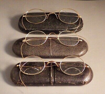(3) Antique 14K Solid Gold Spectacles with Protective Cases
