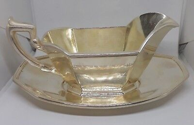 Gorham EP Silverplate 8 oz Gravy Sauce Boat 0927 and Underplate 0928