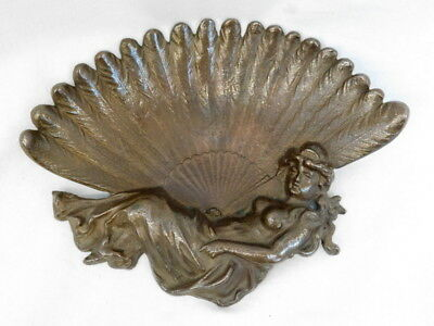 Antique Bronze Victorian Calling Card Holder Tip Tray Woman Figural Feather