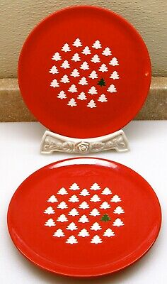 "WAECHTERSBACH GERMANY Set of 2 Salad Plates 7 3/4"" RED GREEN WHITE XMAS TREE EUC"