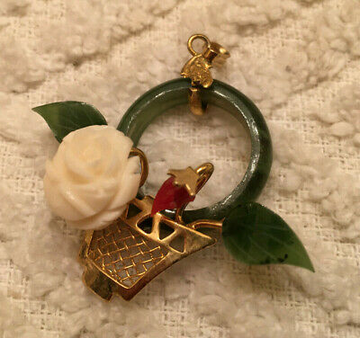 Yellow Goldtone Green JADE? Pendant Circle Flower Basket with Carved Rose