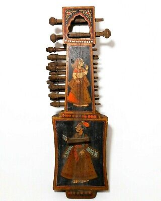 19Th C Antique Indian Hand Painted Figurative Folk Art Sarangi String Instrument