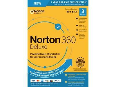 Norton 360 Deluxe 2020 3 Devices VPN 25GB Cloud Parental Internet Security