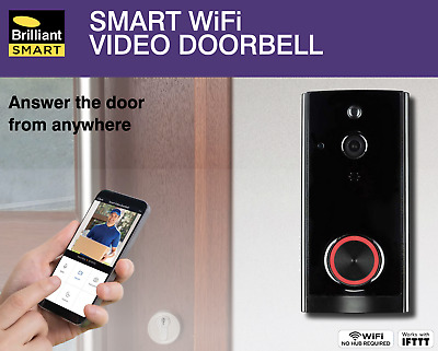 BRILLIANT SMART WiFi VIDEO DOORBELL - 1080p HD CAMERA- ANSWER DOOR FROM ANYWHERE