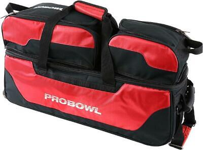 Pro Bowl 3 Ball Tote Roller Bowling Ball Bag - Red/Black