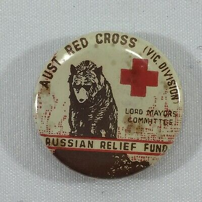 Australian Red Cross Russian Relief Fund Tin Lapel Pin Badge Vintage Collectable