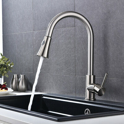 Stainless Steel Pull Out Sprayer Kitchen Faucet Brushed Nickel Single Hole Sink