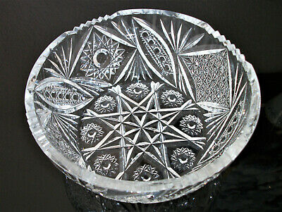 Vintage Bohemian Hand Cut Crystal Scalloped Bowl Perfect Condition