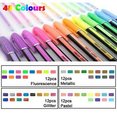 48PCS Color Bright Gel Pens Set Colouring Book Fine Detail Glitter Neon Pastel