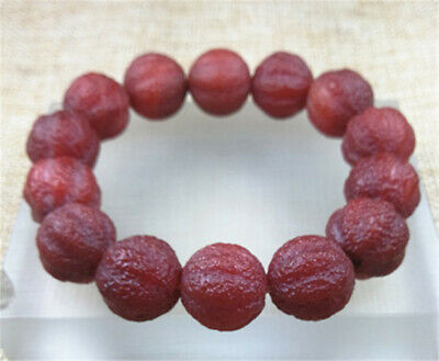 16MM Collection Ancient Natural Red Agate Jade Beads Bracelet